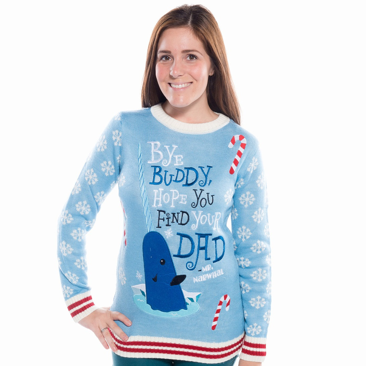 Elf Womens Bye Buddy Narwhal Appliqué Sweater By Festified
