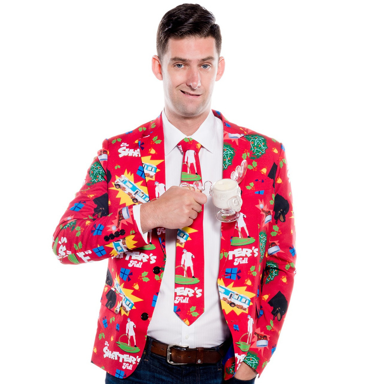 Cousin Eddie Suit Jacket And Tie Shitters Full Retrofestiveca