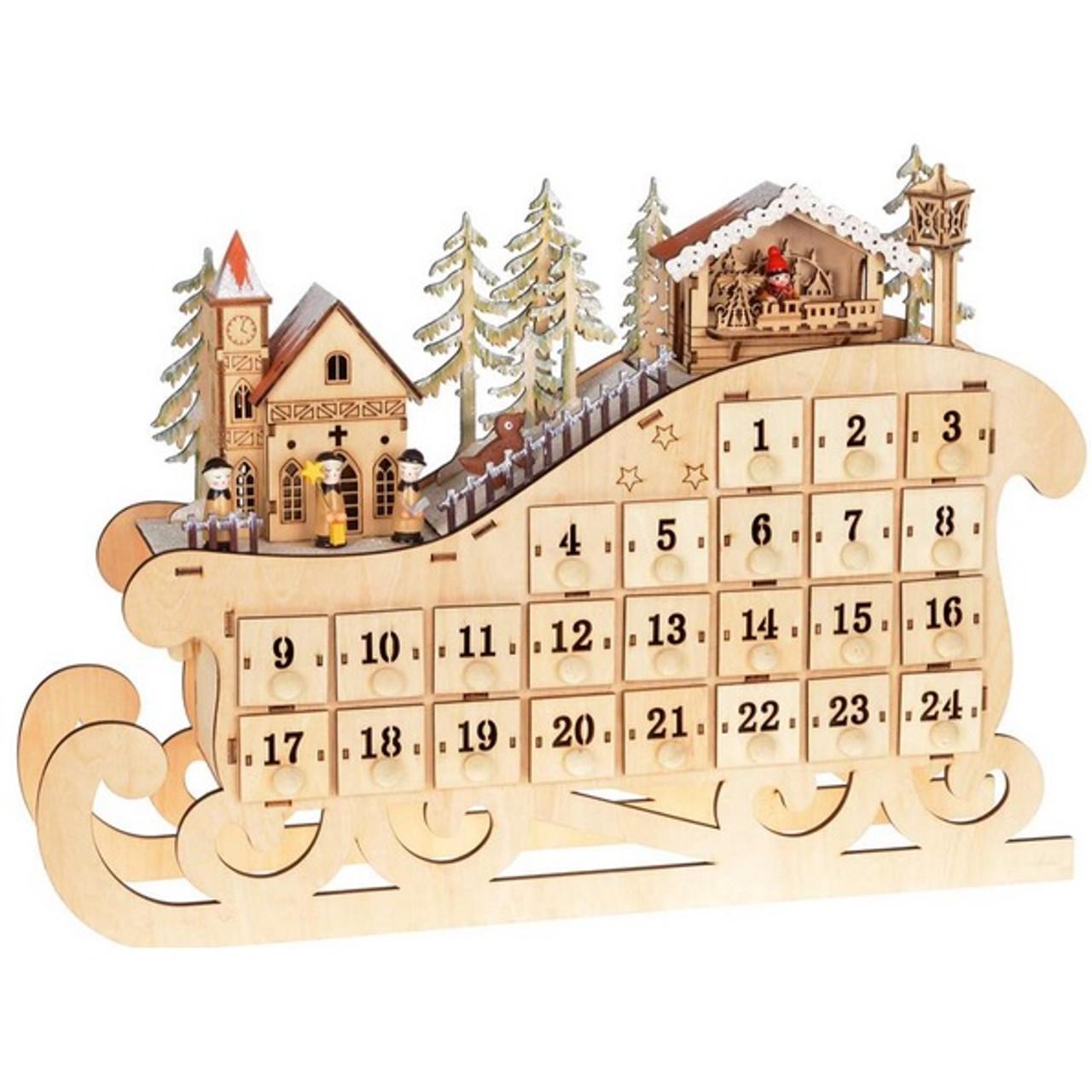Wooden Advent Calendar With Lights And Music Retrofestive Ca