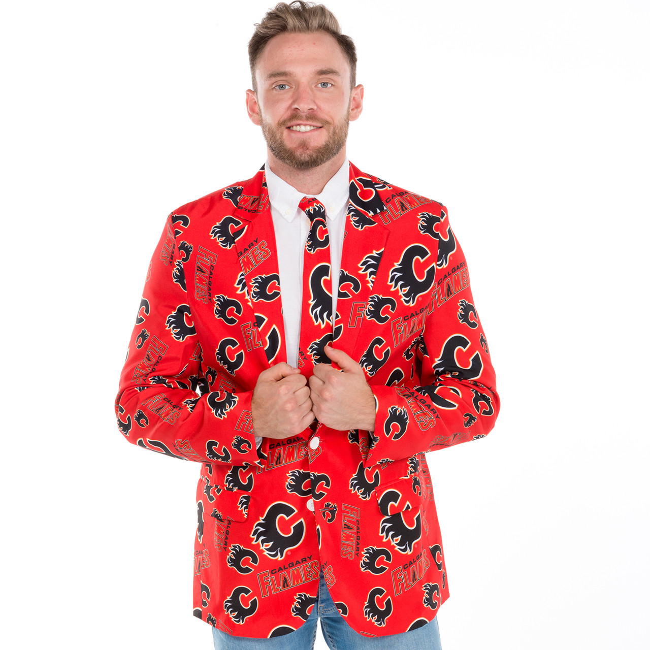 9a0a9957807 Calgary Flames NHL Ugly Suit Jacket and Tie