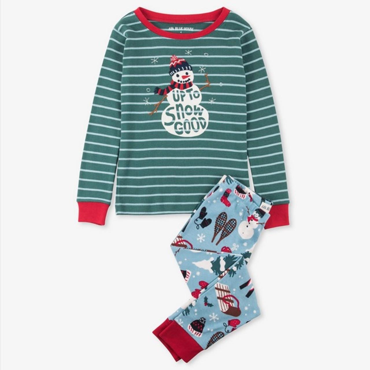 Boys Christmas Pajamas.Vintage Holiday Kids Christmas Pajamas Blue