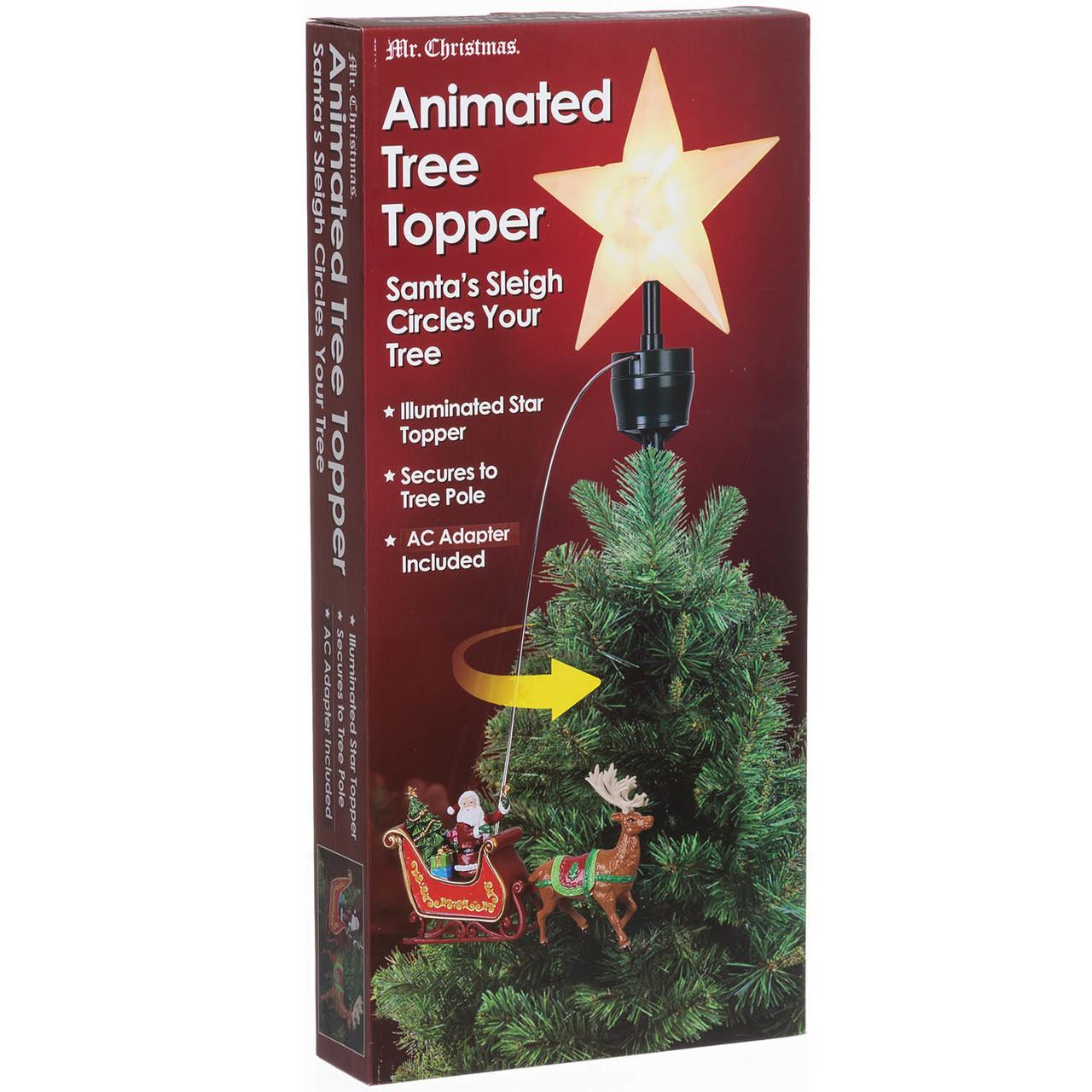 Santa Sled Animated Tree Topper Retrofestiveca