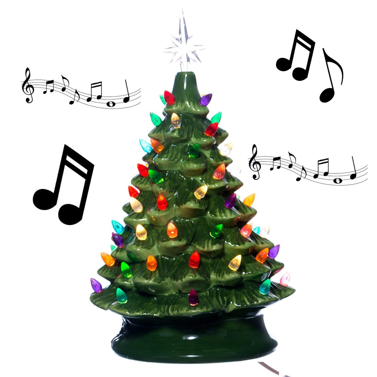 "*musical* 16"" Green Light-up Ceramic Christmas Tree"