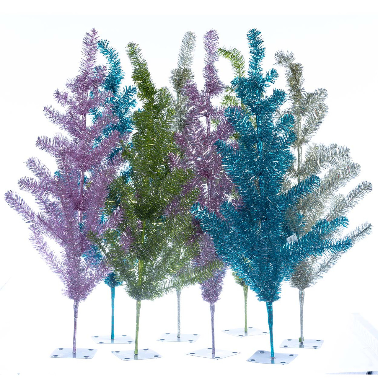 3 Retro Silver Green Pink And Blue Tinsel Trees Retrofestive Ca