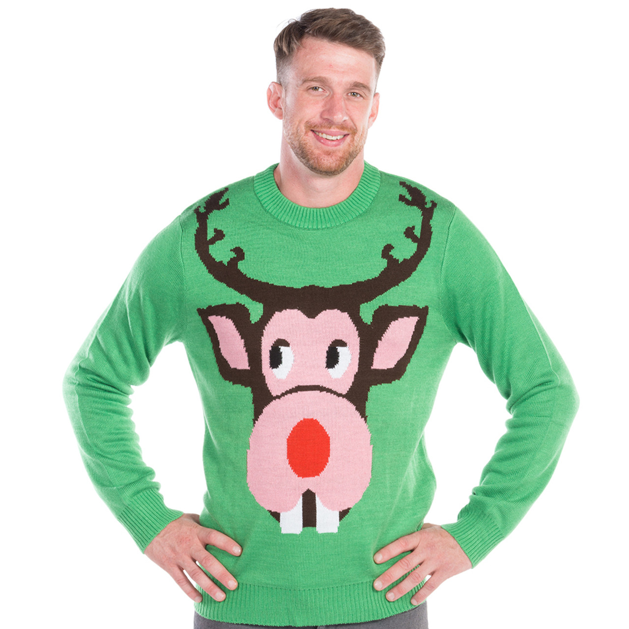 Men's Bucktooth Rudolph Ugly Sweater by Tipsy Elves