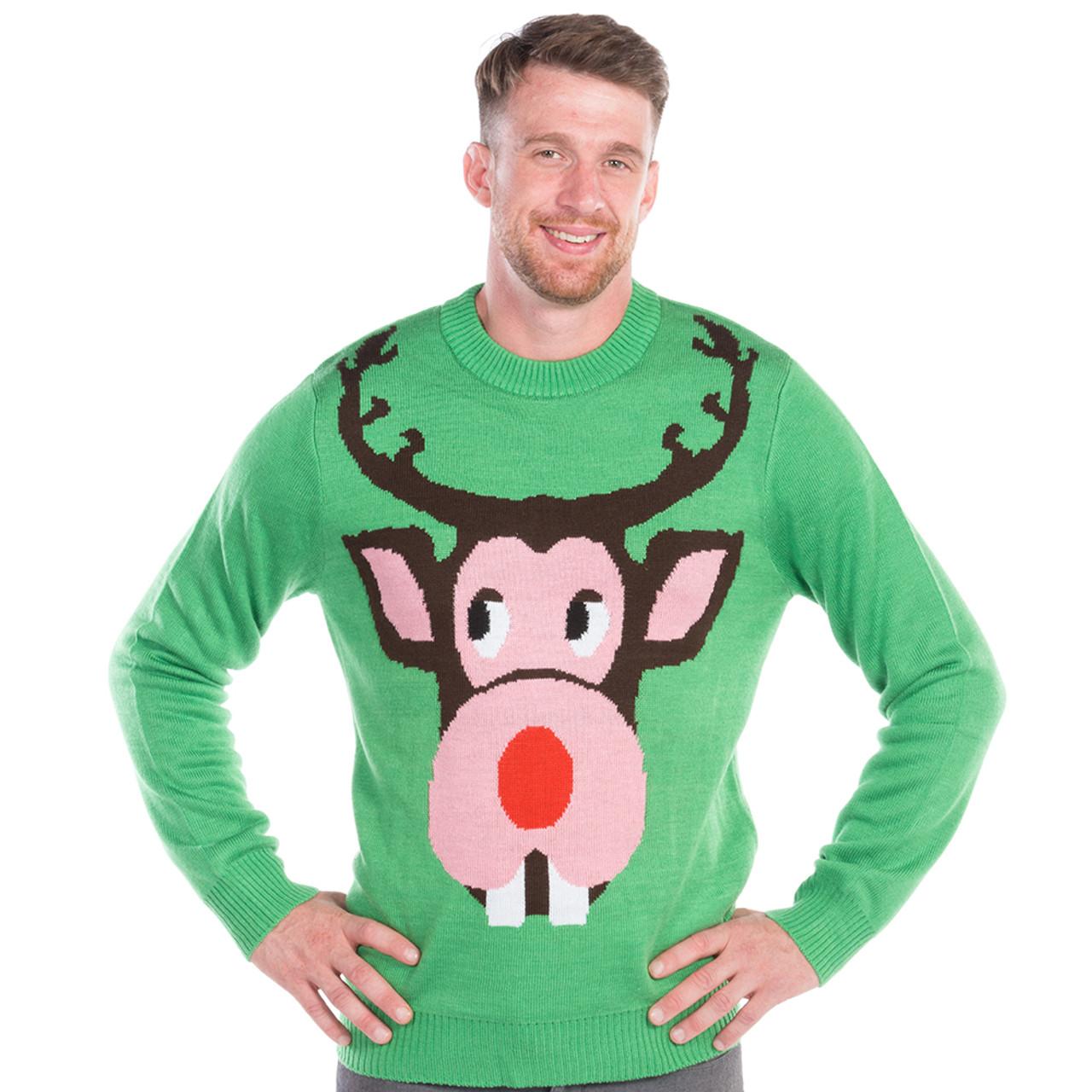 4ee89c95a9a7a Bucktooth Rudolph Mens Christmas Sweater