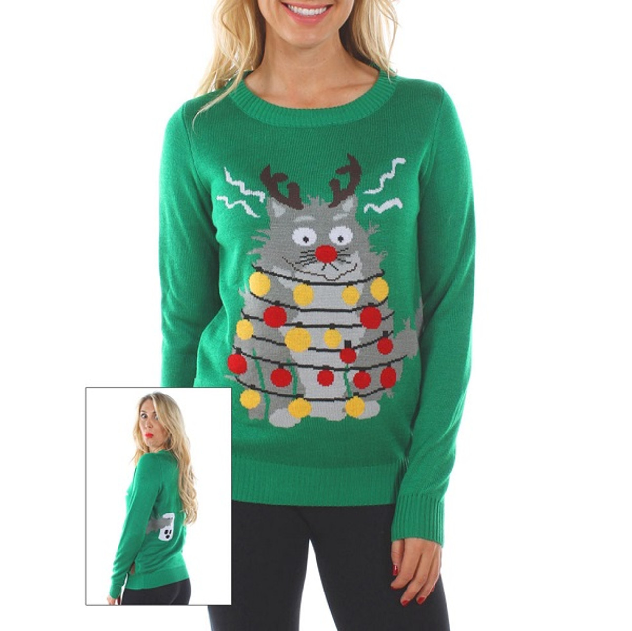 Cat Christmas Sweater.Electrocuted Cat Women S Ugly Sweater By Tipsy Elves