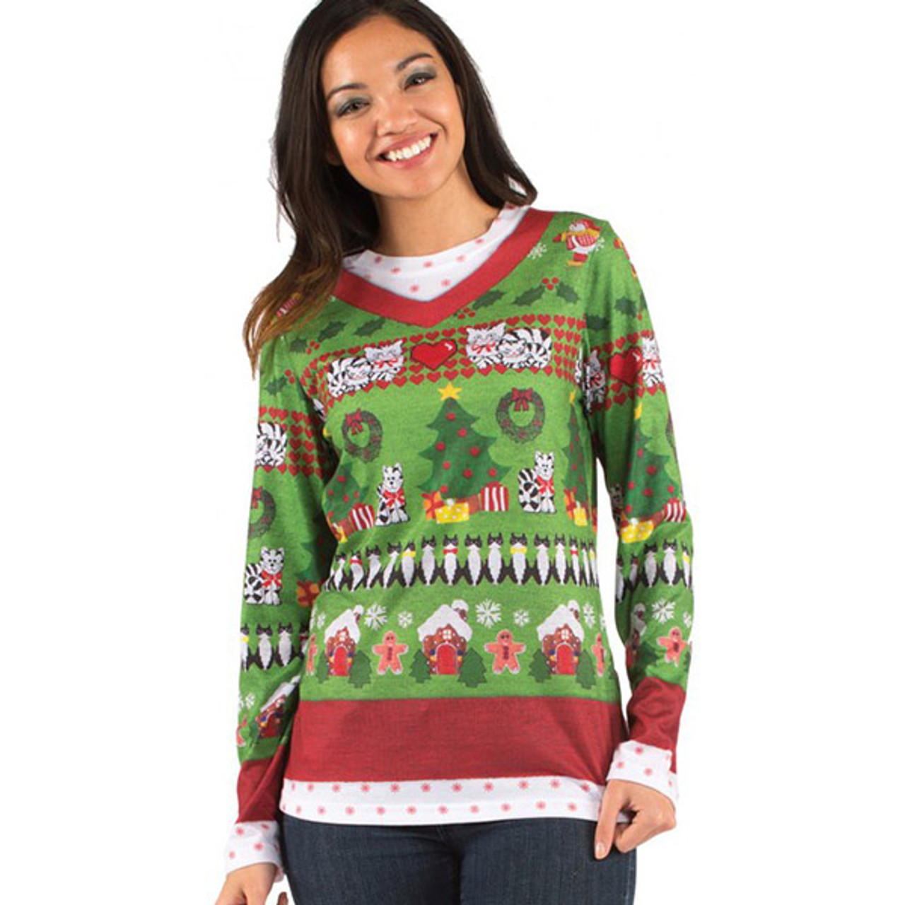 Faux Real - Ladies Ugly Christmas Sweater Long-Sleeve Tee 9624529fc5c2