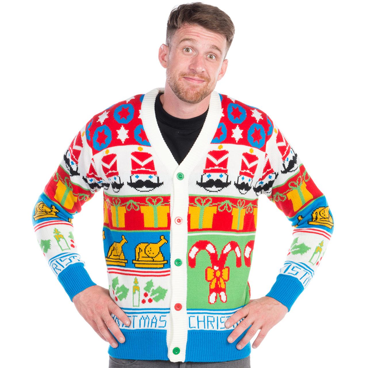 Christmas Cardigan Sweaters.Cheesy Nutcracker Ugly Christmas Cardigan World S Best