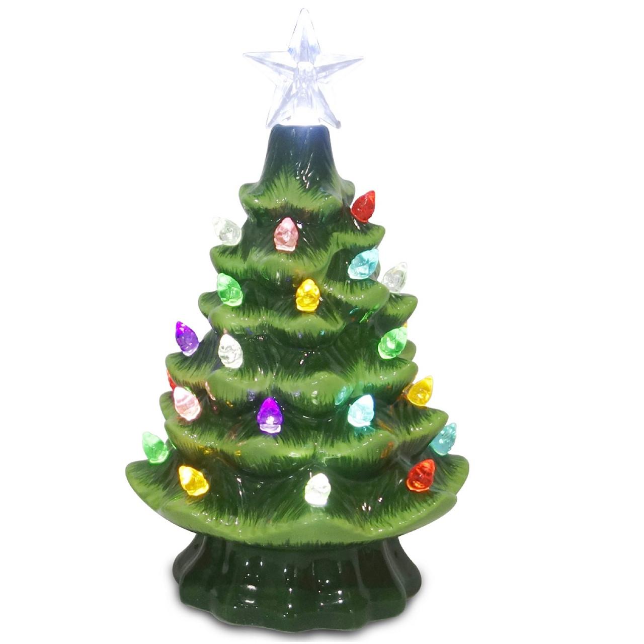 5 5 Green Ceramic Christmas Tree With 32 Bulbs