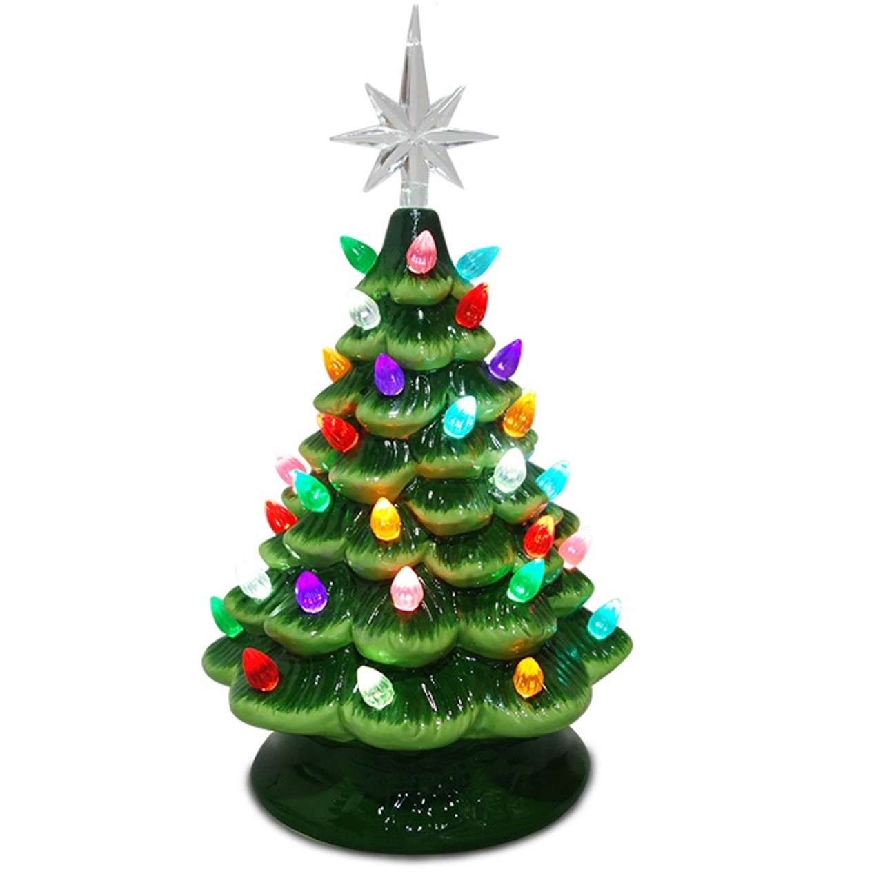 """11"""" Green Star Topped Ceramic Tree With Multi Bulbs"""