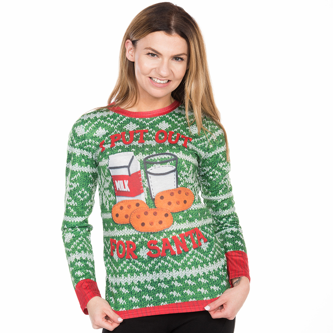 I Put Out For Santa Womens Long Sleeve Christmas Tee By Faux Real