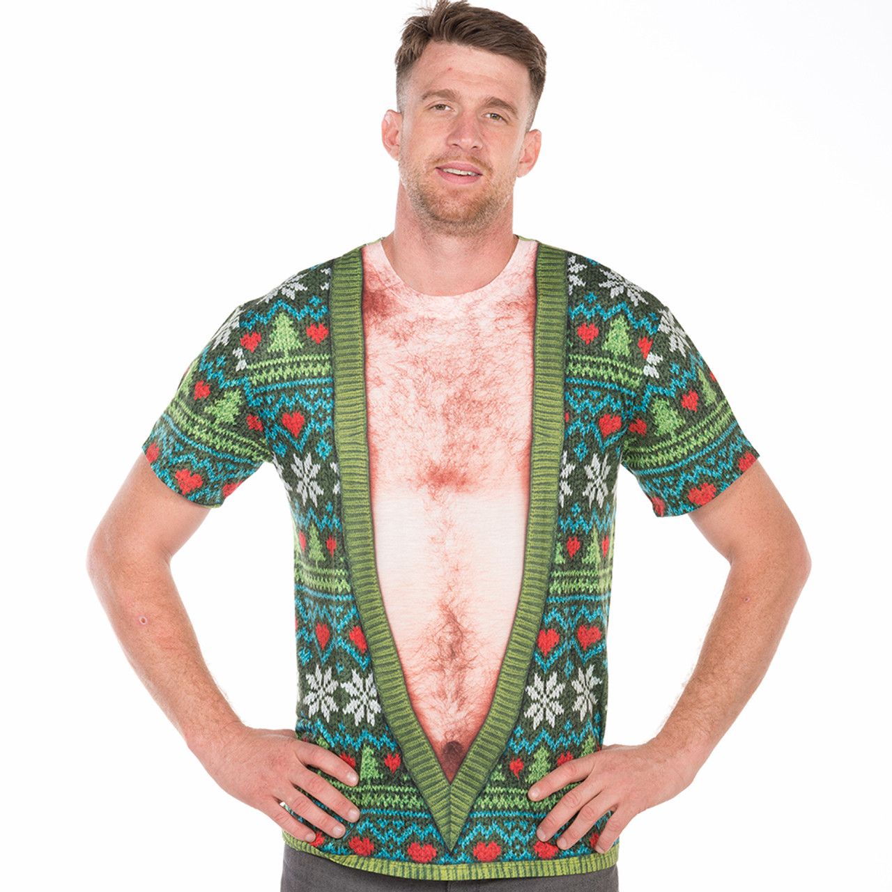 40193478e32 Belly V-Neck Ugly Christmas Sweater Short Sleeve by Faux Real ...