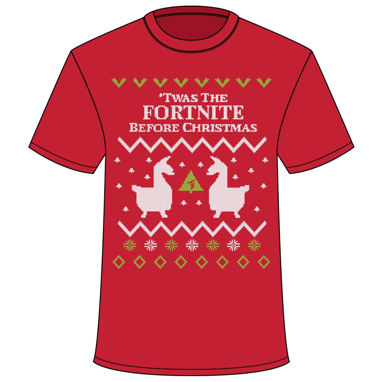 ff60f967 Fortnite Before Christmas Ugly Sweater T-Shirt - Red - RetroFestive.ca