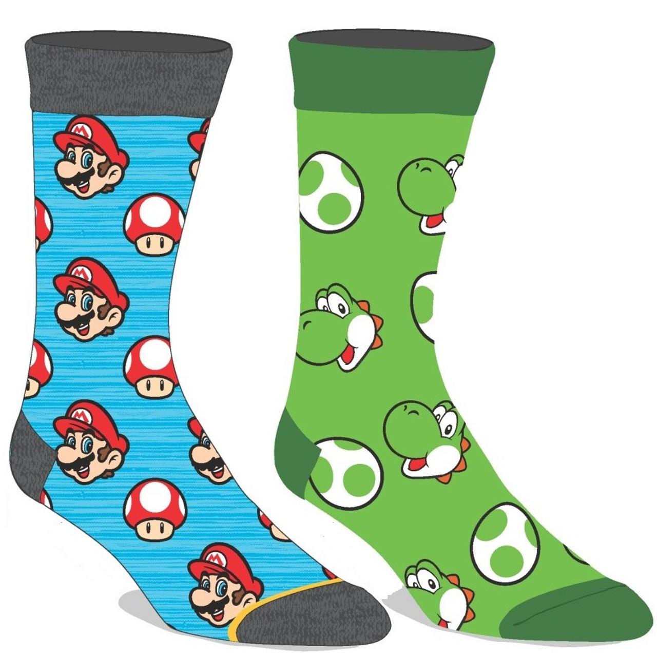 Super Mario Christmas Stocking.Two Pairs Of Super Mario Bros Yoshi And Mario Crew Socks By Bioworld
