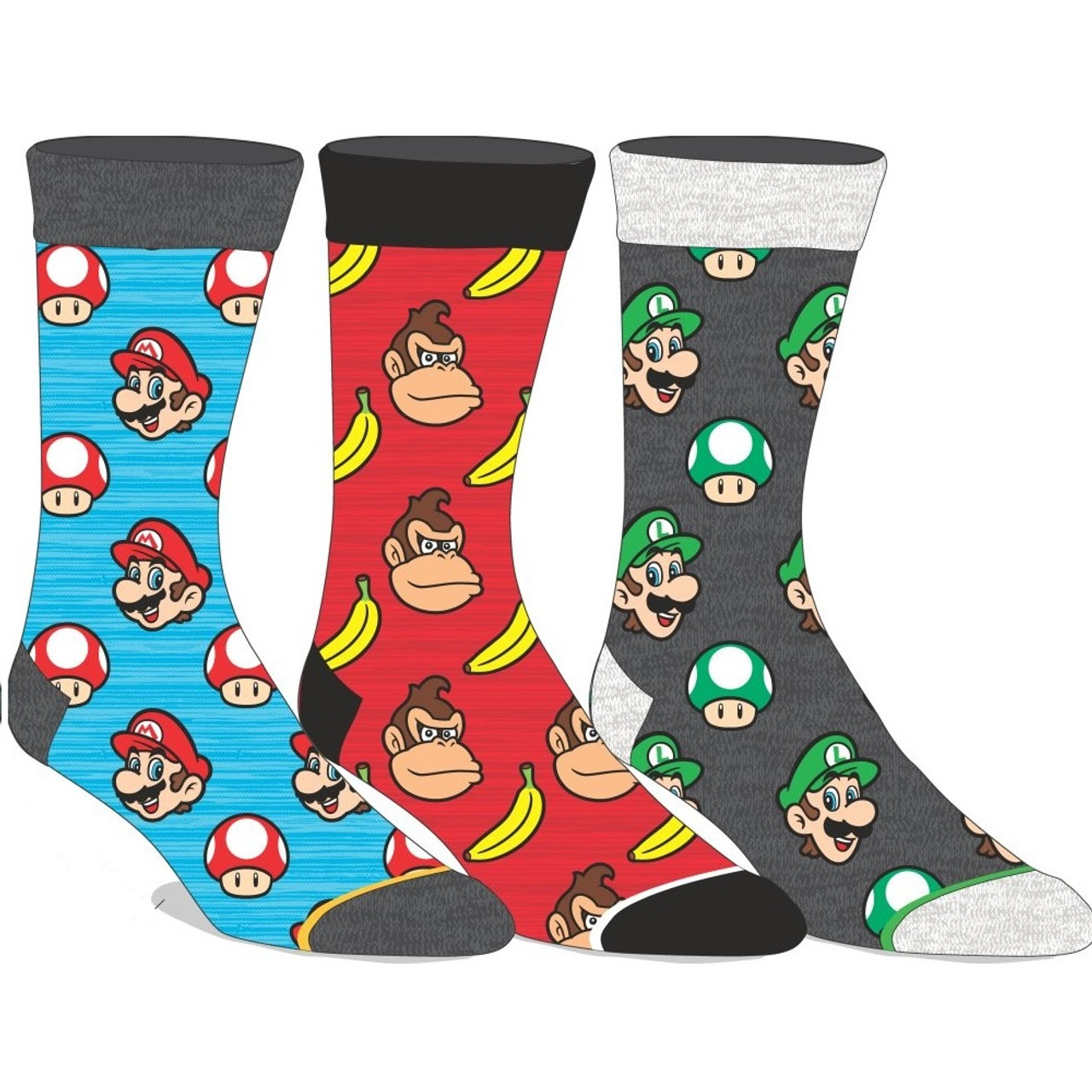 3 Pairs of Super Mario Bros Crew Socks by Bioworld