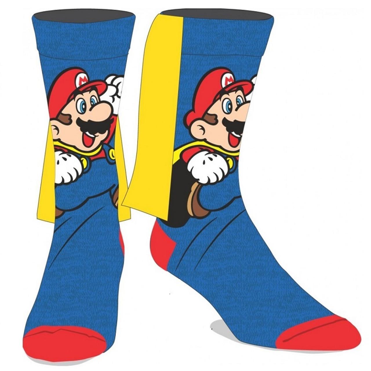 Super Mario Christmas Stocking.Nintendo Super Mario Crew Socks With Cape By Bioworld