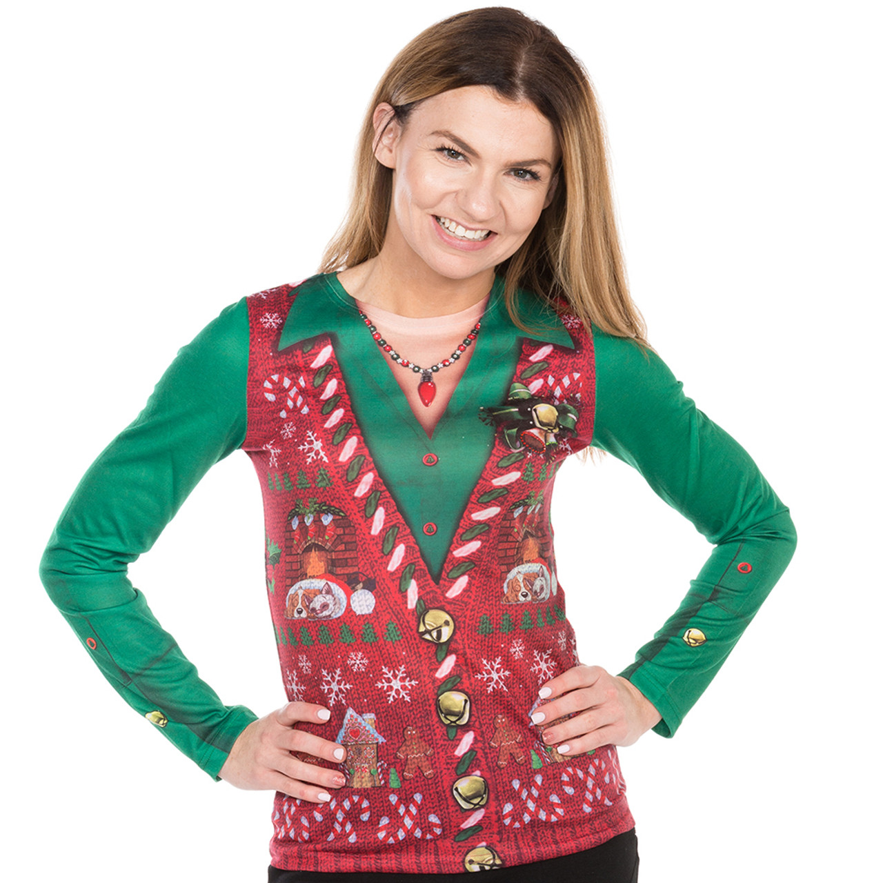 c8147e81e94d Women's Ugly Christmas Sweater Vest with Bling Faux Real - Front