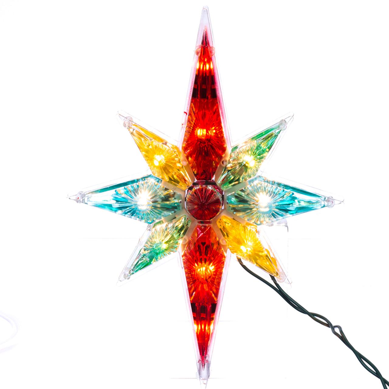 """10.75"""" Multi-colour Faceted Star Of Bethlehem Christmas Tree Topper"""