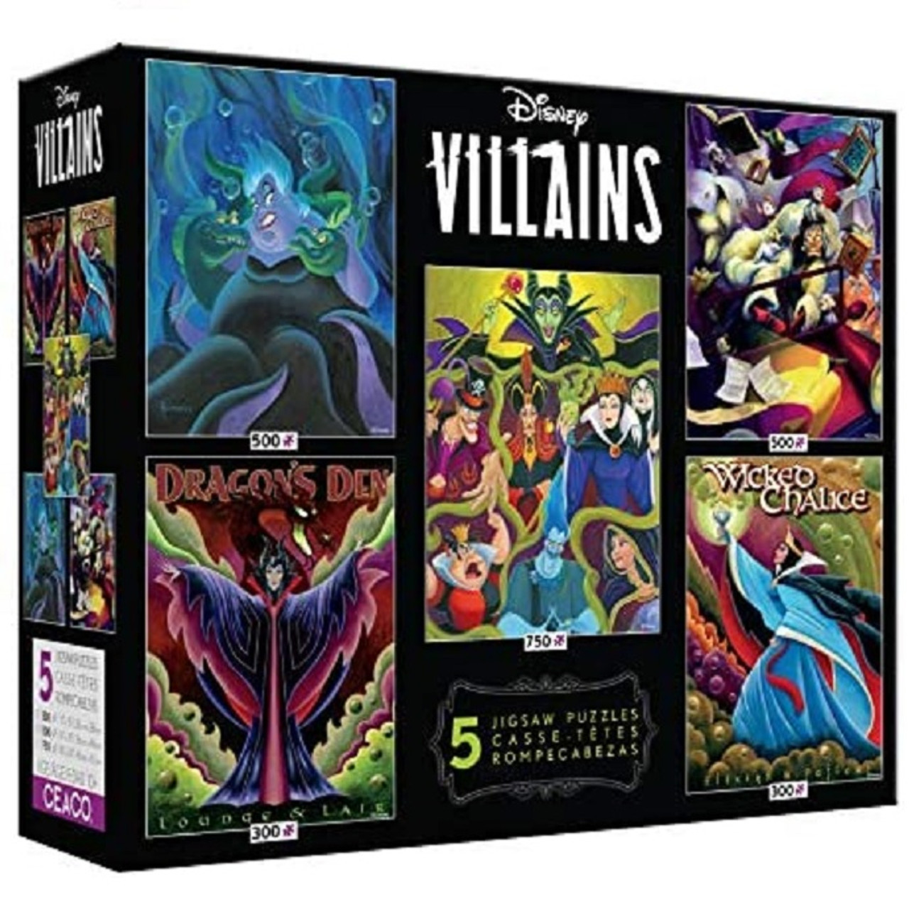 Disney Villains Multi-pack Of 5 Puzzles By Ceaco