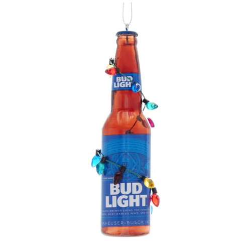Bud Light Bottle with Christmas Bulbs Ornament