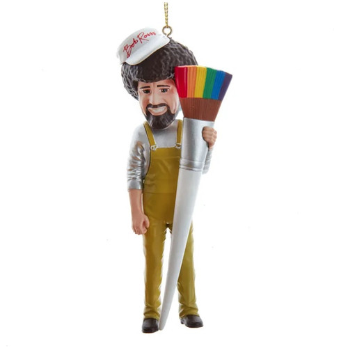 Bob Ross with Paint Brush Ornament