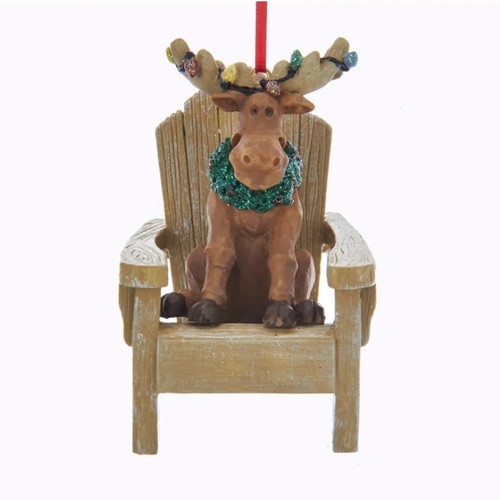 Moose on Muskoka Chair with Christmas Bulbs Personalized Ornament