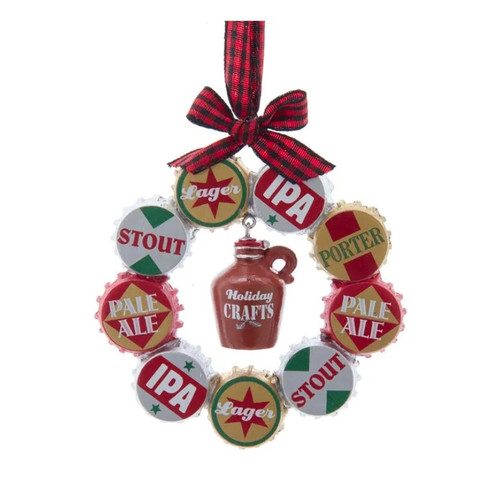 """Beer Bottle Cap Wreath """"Holiday Crafts"""" Ornament"""