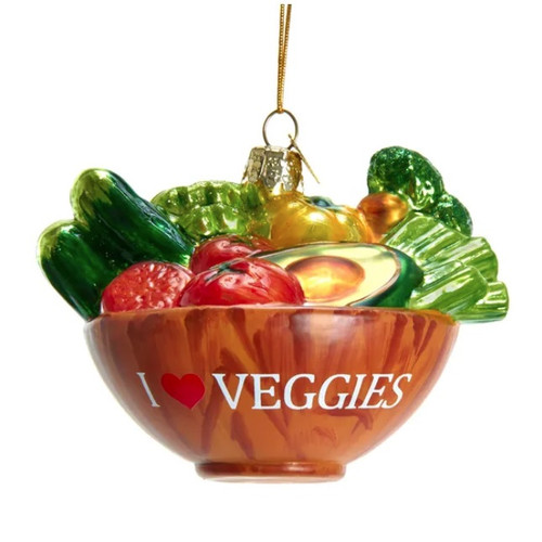 I Love Veggies Bowl Glass Ornament