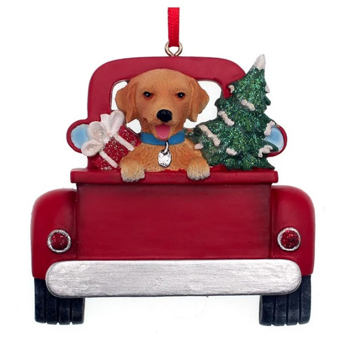 Golden Retriever in Red Truck Personalized Ornament