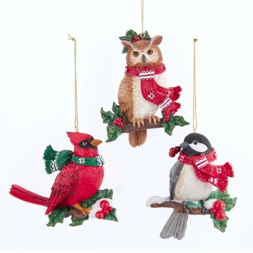 Woodland Cardinal, Chickadee and Owl Ornaments - SET of 3