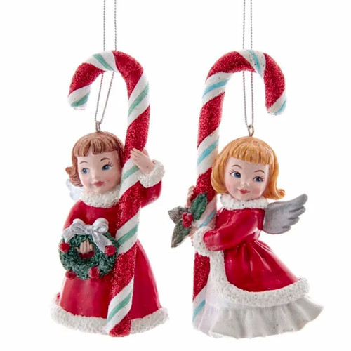 Retro Mint Angels with Candy Canes Ornaments - SET of 2