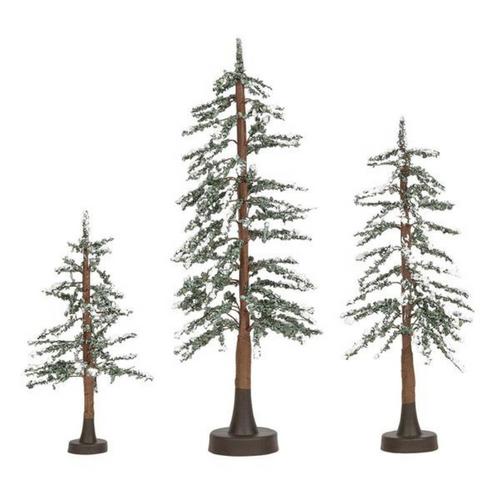 Snowy Lodge Pines Set of 3
