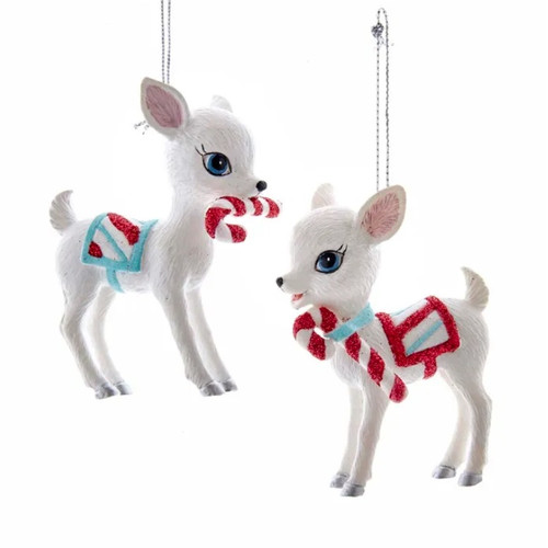 Retro Mint Baby Deer with Candy Canes Ornaments - SET of 2
