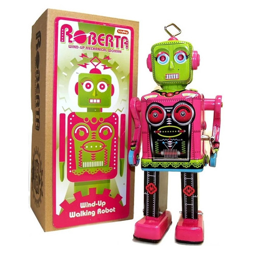 Roberta Robot Wind-Up Tin Toy