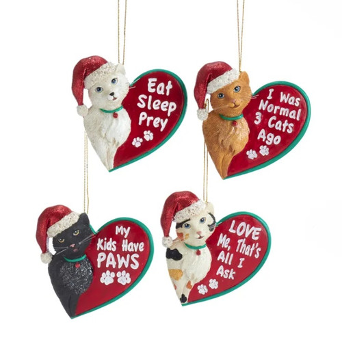 For the Love of Cats Resin Ornaments