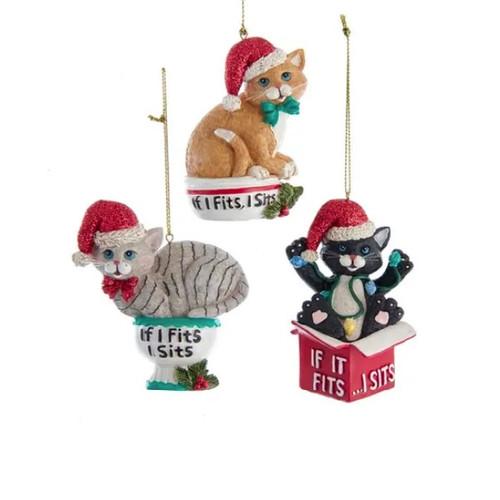 """""""If I Fits, I Sits"""" Cat Ornaments"""