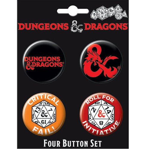 Dungeons and Dragons Button Set of Four