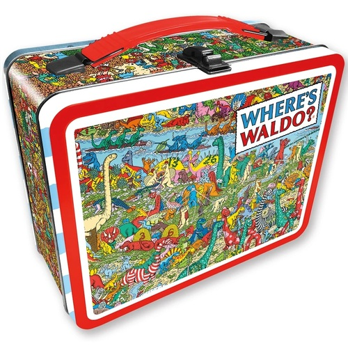 Where's Waldo Dinosaur Scene Tin Tote Lunch Box