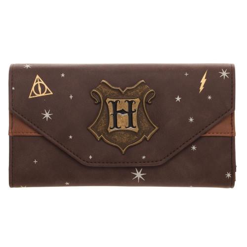 Harry Potter Metal Hogwarts Logo Badge Women's Wallet