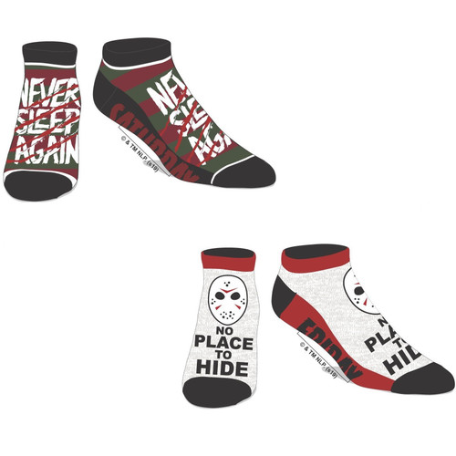 Horror Movie 2-Pack of Ankle Socks by Bioworld Featuring Nightmare on Elm Street and Friday The 13th