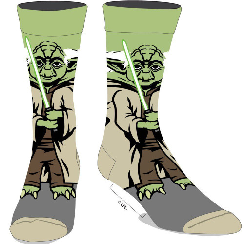 Star Wars Yoda 360 Character Men's Crew Socks by Biworld