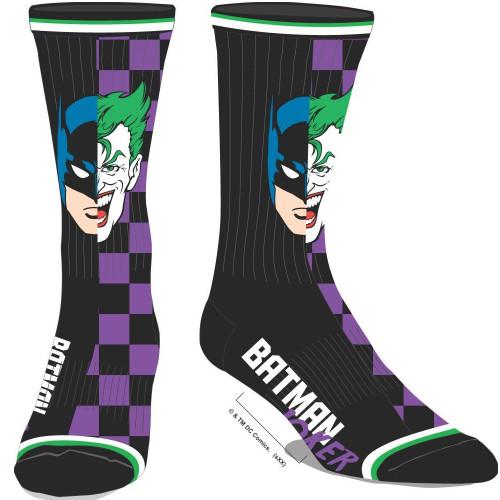 Batman Joker Split Face Men's Crew Socks by Bioworld