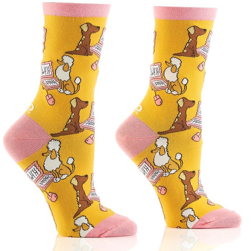 Work From Home Dogs Women's Crew Socks by Yo Sox