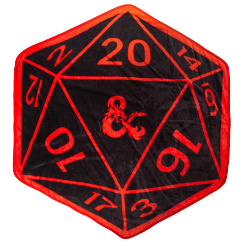 Dungeons and Dragons Black and Red Shaped Dice Throw Blanket