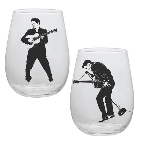 Elvis Presley Stemless Wine Glass (Set of 2)