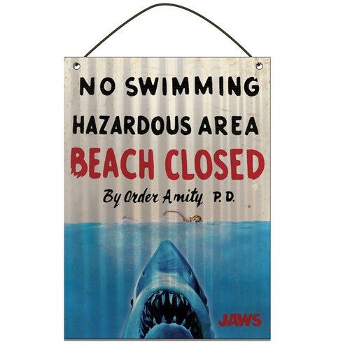 Jaws No Swimming, Beach Closed Vintage Sign