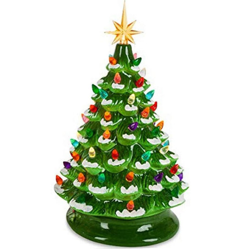 Retro Lighted Green Dolomite Tree with Music and Timer