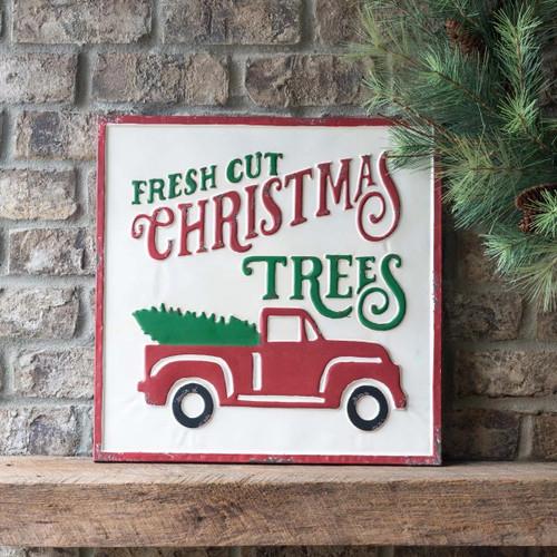 Fresh Cut Christmas Trees Square Metal Sign