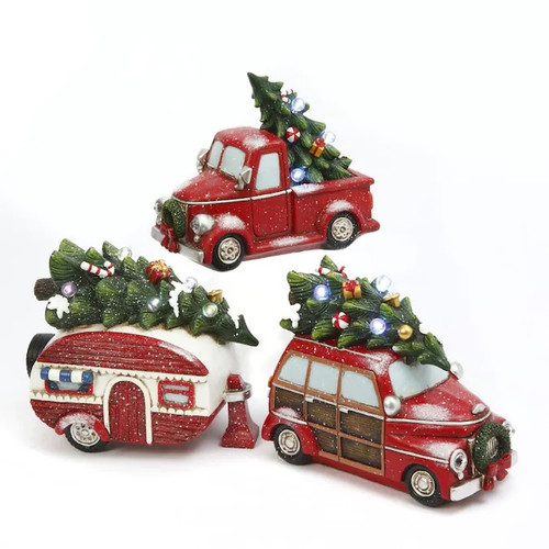 Resin Holiday Vehicle with Trees, 3 Assortment